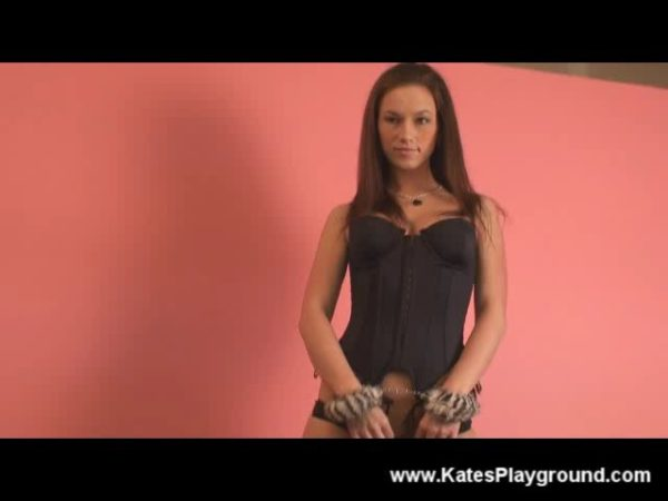 Kate in furry handcuffs