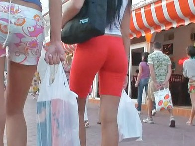 Hot girls in booty shorts very quickly made the cameraman feel the hardon in his pants