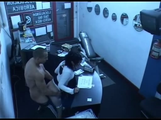 Security cam in the office corridor filming fuck session!