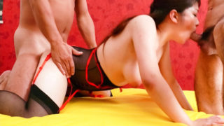 AVTits Mirai Haneda in red and black lingerie takes on two adoring cock hounds.