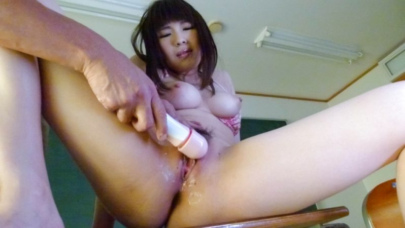 AVTits Awesome schoolgirl Yuri Sato wets desk with her pussy juice