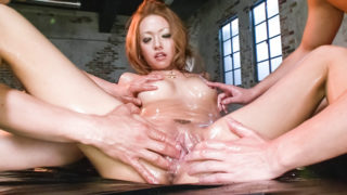 GangAV Cock gobbling Rei Miyakawa finds two dicks shoved in her face and her pussy banged hard.