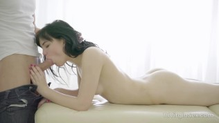 Beautiful dark-haired cutie is blessed with a perfect body